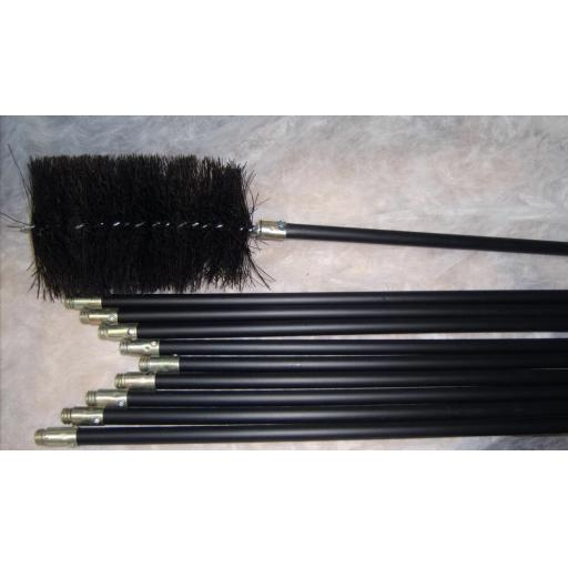 "6"" inch x 30ft Long Flue Brush Chimney Soot Cleaning Sweeping Set Drain Rods"