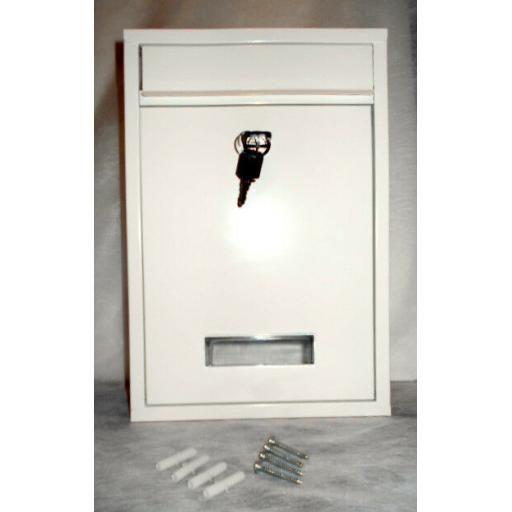 !!NEW!! Modern WHITE Steel Locking Wall Mounted Metal Letter Post Box 2 x Keys