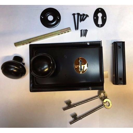 Satin BLACK Metal Rim Sashlock Lock & Knob Set Door Lever Knobs Spindle Shed