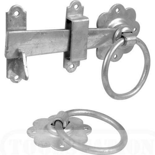 "180mm 7"" inch Ring Handle Gate Door Latch Catch Galv'd"