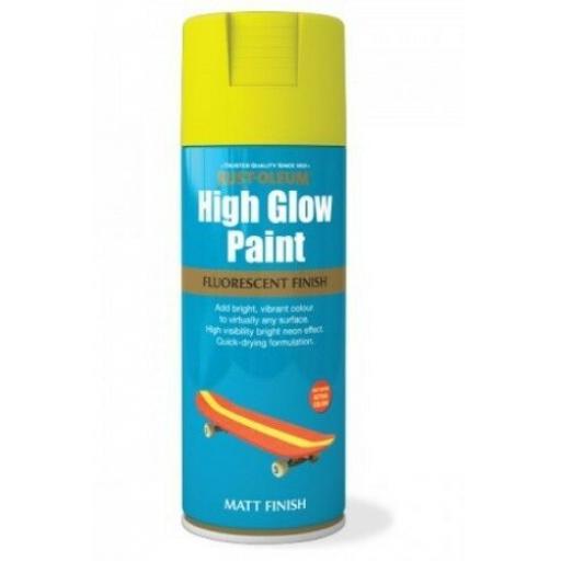 HIGH GLOW YELLOW FLUORESCENT RUST-OLEUM Fast Dry Spray Paint Aerosol 400ml