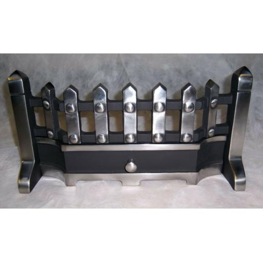 "Beacon HIGHLIGHT Pewter Silver Fret Front 18"" inch Solid Fuel Fire Grate Coal"