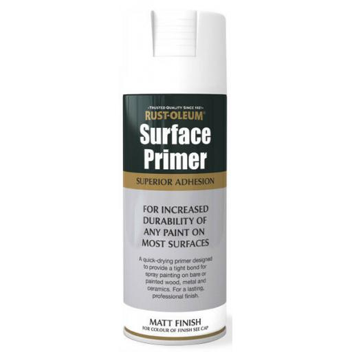 SURFACE PRIMER Rust-oleum Fast Dry Spray Paint Aerosol 400ml WHITE