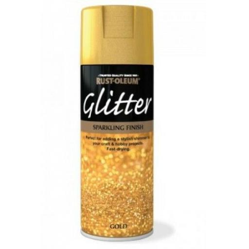 GOLD GLITTER SPARKLING FINISH RUST-OLEUM Fast Dry Spray Paint Aerosol 400ml