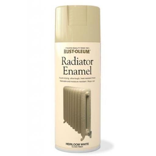 RADIATOR ENAMEL HEIRLOOM WHITE GLOSS FINISH RUST-OLEUM Spray Paint Aerosol 400ml