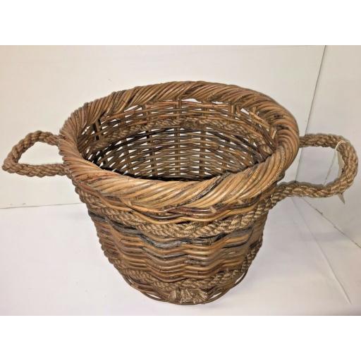 Round Heavy Duty - Hand Made Rattan Wicker Fire Log Basket Laundry Storage (501)