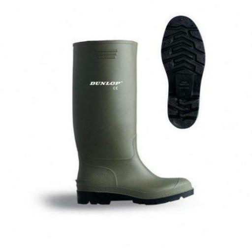 DUNLOP Pricemaster Quality Green Wellies Wellington Boots 3 4 5 6 7 8 9 10 11 12