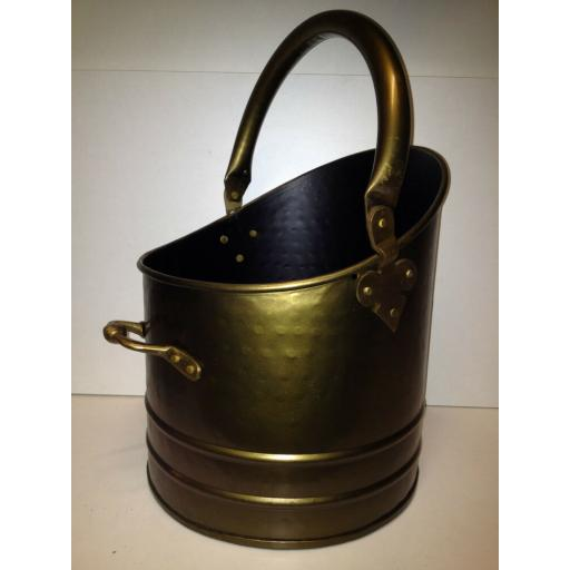 !NEW! HEAVY DUTY LRG BRUSHED ANTIQUE BRASS Quality Coal Bucket Hod Ash Fire Log