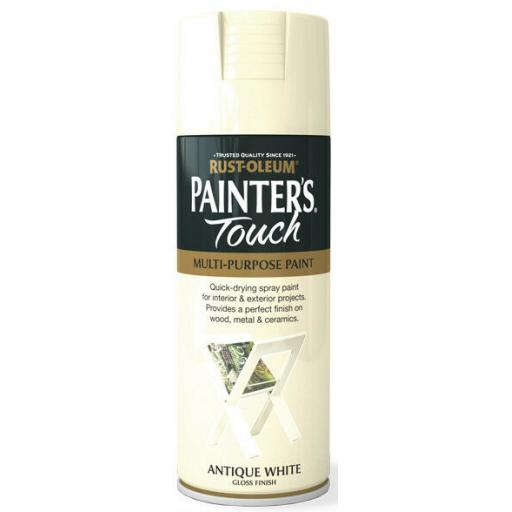 ANTIQUE WHITE GLOSS Fast Dry Spray Paint Aerosol 400ml