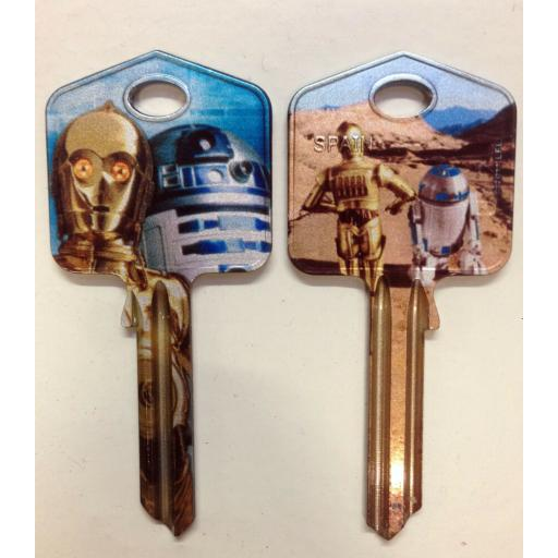 Star Wars R2-D2 C-3P0 Blank Key fit Yale 1A/U6D/UL2 Dark Side R2 D2 C 3PO