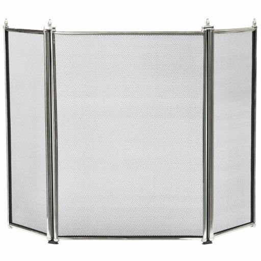 Manor 1799 Regency CHROME 3 Fold Fire Screen Spark Guard SILVER Stove Folding