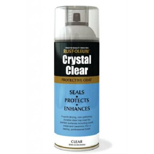 Rustoleum CRYSTAL CLEAR Semi Gloss FINISH Fast Dry Spray Paint LACQUER Aerosol
