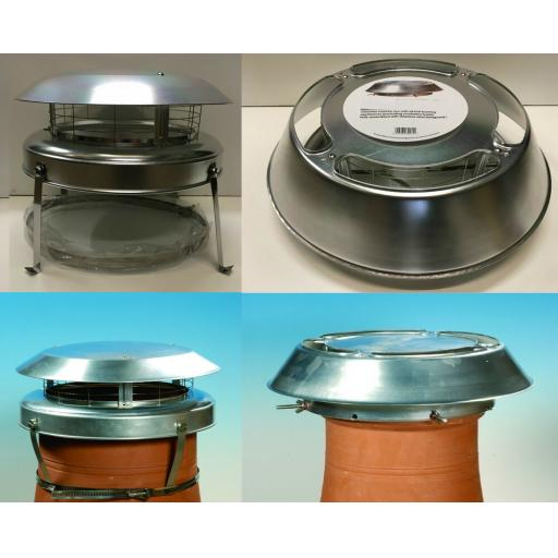 Aluminium Bolt or Strap Chimney Flue Top Cowl Stop Smoke Rain Draught Bird Guard