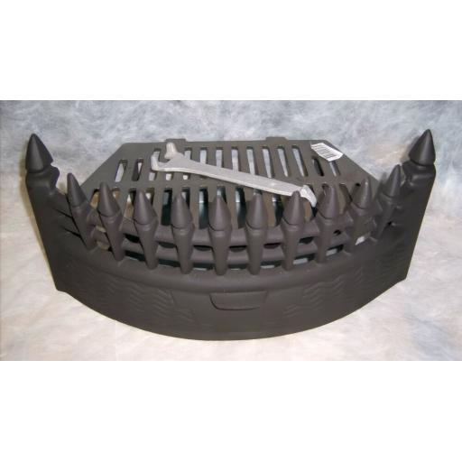"Castle Curved 16"" inch BLACK SOLID FUEL COAL FIRE KIT SET GRATE ASHPAN FRET"