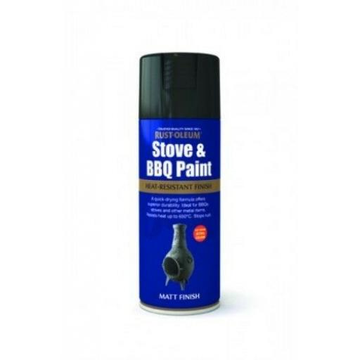 STOVE & BBQ PAINT BLACK RUST-OLEUM Fast Dry Spray Paint Aerosol 400ml