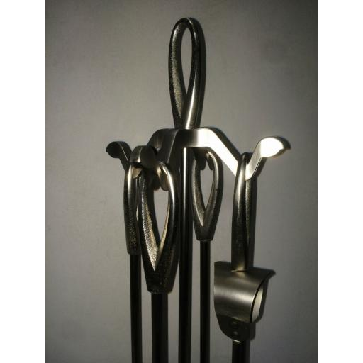 """MANOR 2120 Silver Pewter Loop Top Companion Coal Fuel Fire Set 24"""" tongs poker"""