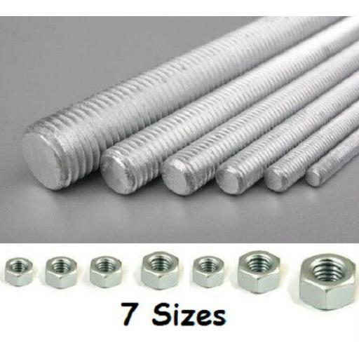 1m Threaded Bar METRIC Studding Rod ZINC PLATED Nuts M4 M6 M8 M10 M12 M16 M20