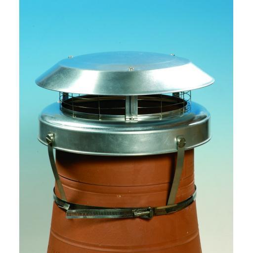 Aluminium Bolt or Strap Chimney Flue Top Cowl Stop Smoke Rain Draught Bird Guard