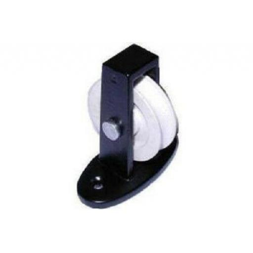 "38mm 1.1/2"" Upright Pulley Nylon Wheel Across Plate Cast Black Bracket"