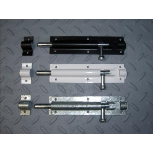 Sliding Tower Bolt Black White Galvanised Door Gate Garden 3 4 5 6 8 10 12 inch