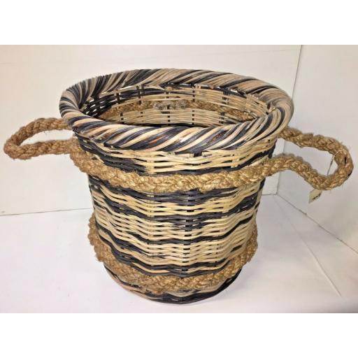 Round Heavy Duty - Hand Made Rattan Wicker Fire Log Basket Laundry Storage (531)
