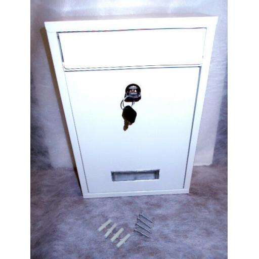 !!NEW!! Modern WHITE Steel Locking Wall Mounted Metal Letter Post Box 2 x Keys