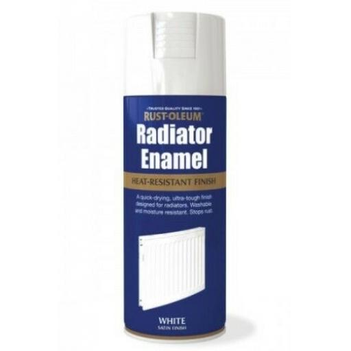 RADIATOR ENAMEL WHITE SATIN RUST-OLEUM Fast Dry Spray Paint Aerosol 400ml