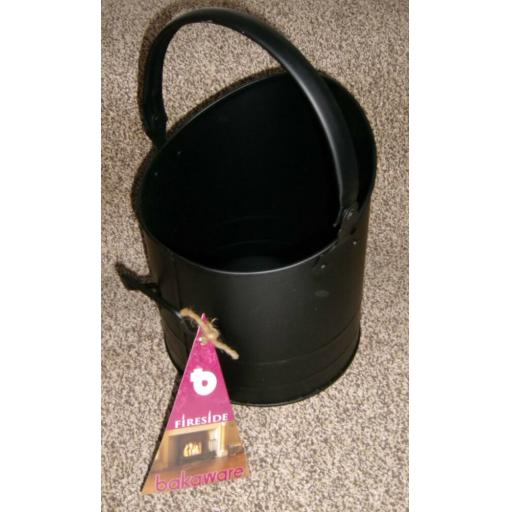 DEVILLE Mini Coal Fire Log Burner Bucket Hod Holder with Handle BLACK small