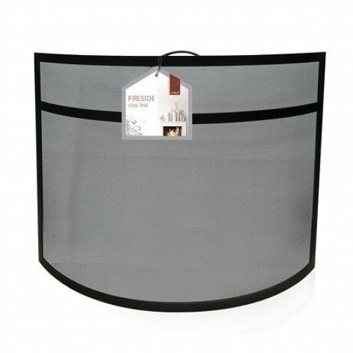 "NEW DEVILLE Heavy Duty Curved Coal Fire Screen Spark Guard 25""hx27""w BLACK"
