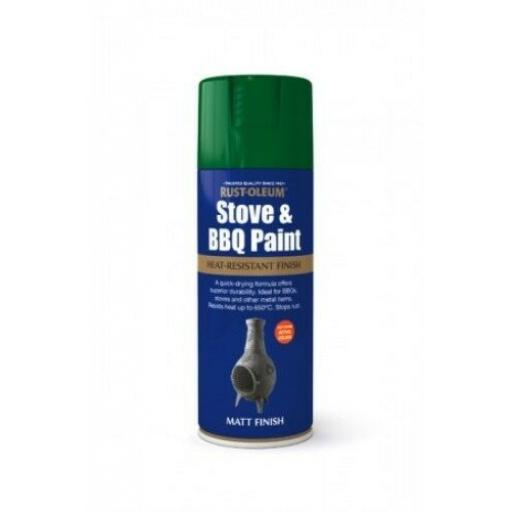 STOVE & BBQ PAINT GREEN RUST-OLEUM Fast Dry Spray Paint Aerosol 400ml