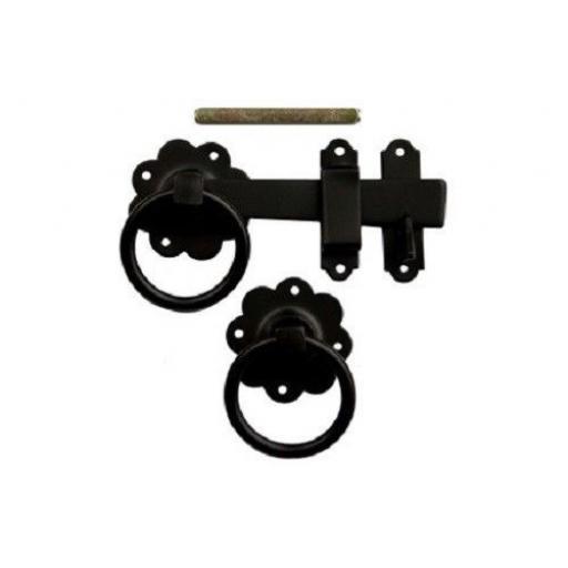 "180mm 7"" inch Ring Handle Gate Door Latch Catch BLACK"